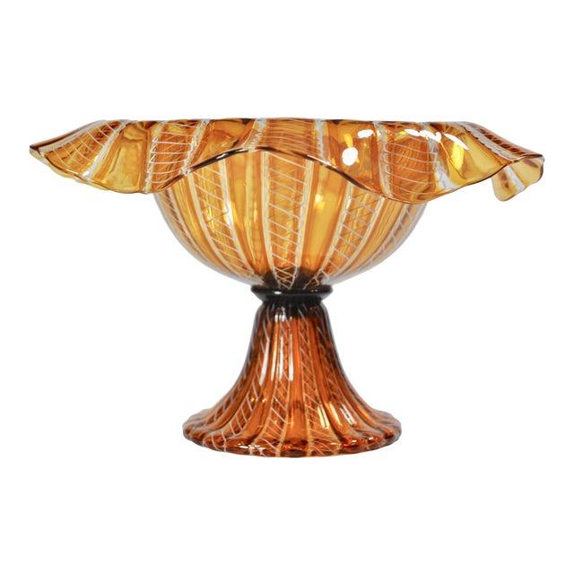 Vintage Salviati Attributed Murano Glass Compote For Sale