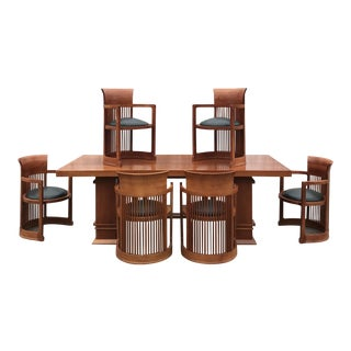 Frank Lloyd Wright Designed Cherry Dining Table and 6 Chairs For Sale