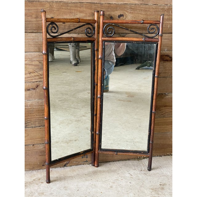Antique French Bi-Fold Bamboo Mirror For Sale - Image 11 of 13