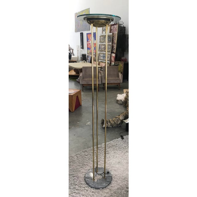 1980s Italian Brass Floor Lamp With Marble Base For Sale - Image 10 of 10