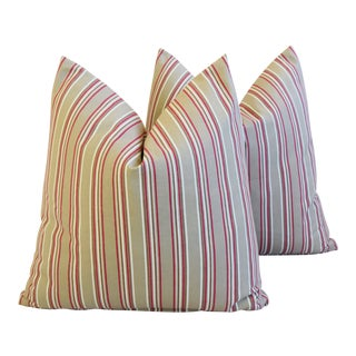 "French Tan, Red & Cream Striped Ticking Feather/Down Pillows 23"" Square - Pair For Sale"