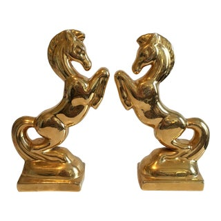 Gold Ceramic Horse Bookends - A Pair