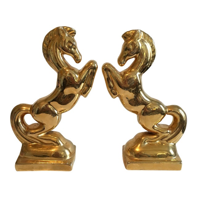 Gold Ceramic Horse Bookends - A Pair For Sale