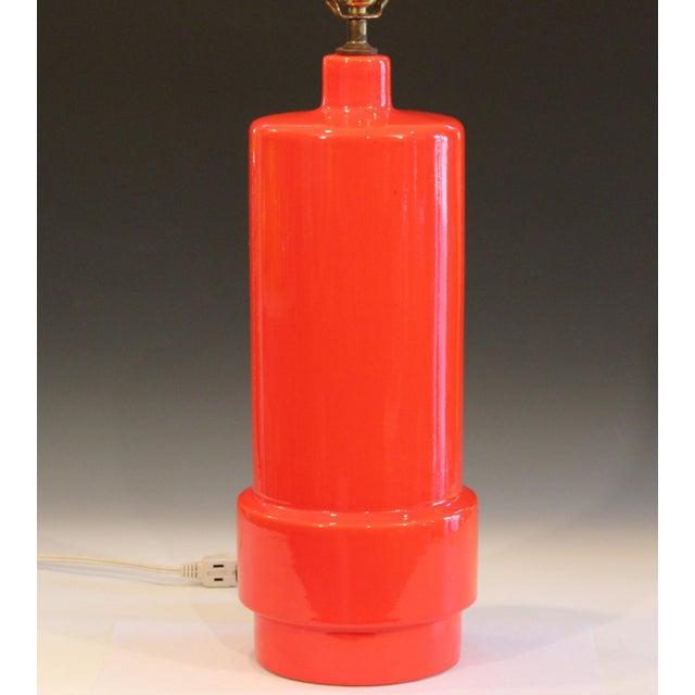 Mid-Century Modern Vintage 1960s Atomic Orange Lamp Mad Men For Sale - Image 3 of 8