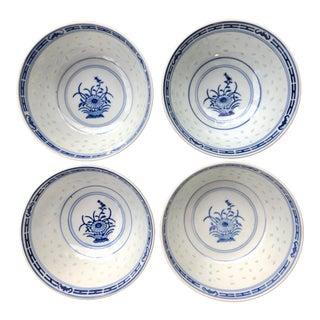 Vintage Chinese Floral Porcelain Translucent Rice Ware Bowls - Set of 4 For Sale