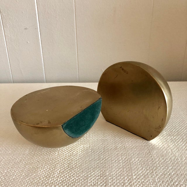 1980s 1980's Brass Mid Century Half Sphere Bookends - A Pair For Sale - Image 5 of 6