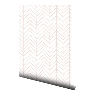 Blush Watercolor Chevron Pre-Pasted Wallpaper Double Roll
