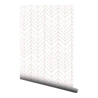 Blush Watercolor Chevron Pre-Pasted Wallpaper Double Roll
