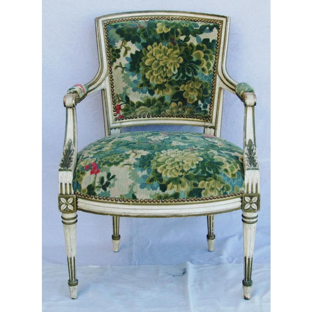 Scalamandre Marly Velvet Tapestry Fabric Armchair - Image 2 of 11