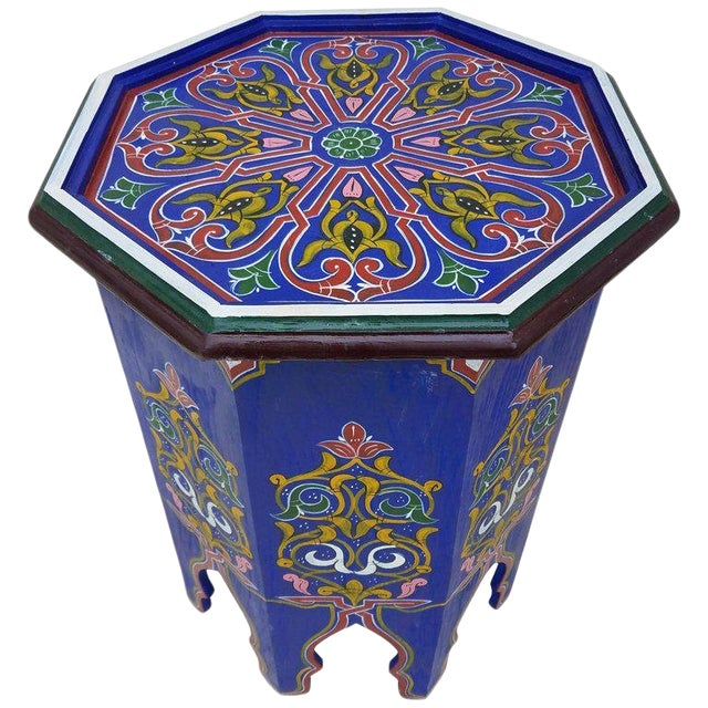 Moroccan Hexagonal Blue Wooden End Table For Sale