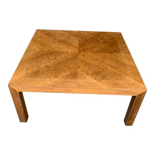 Mid Century Modern Parquet Wood Coffee Table For Sale