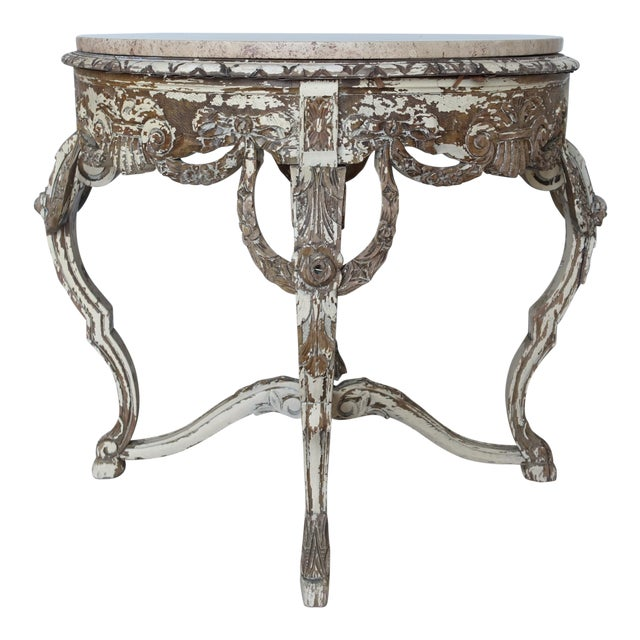 French Carved & Painted Stone Top Table - Image 1 of 10