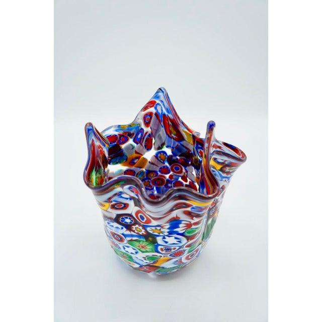 Glass Vintage Murano Millefiori Handkerchief Vase For Sale - Image 7 of 12