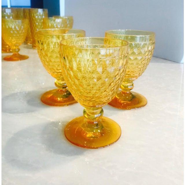 Orange Vintage Crystal Amber Colored Wine Glasses by Villeroy & Boch, Set of Eight For Sale - Image 8 of 13