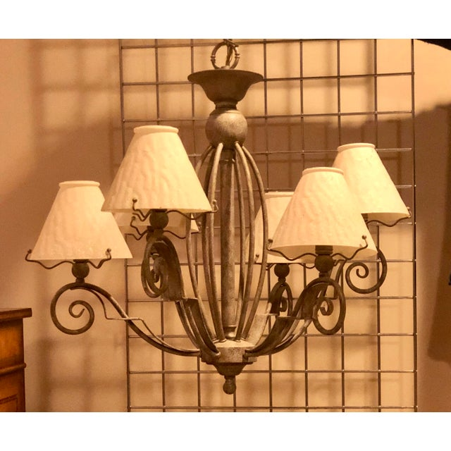 Vintage Transitional Patinated 6 Arm Chandelier With Shades For Sale In New York - Image 6 of 6