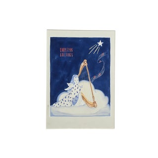 """1950s Advertising Art Painting - """"Christmas Greetings"""" by Barbara Crist For Sale"""