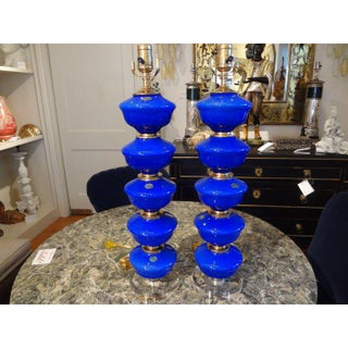 1960s Vintage Cobalt Blue Murano Glass Lamps by Balboa - a Pair Preview