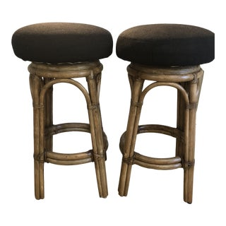 Mid Century Shelby Williams Rattan Barstools - a Pair For Sale