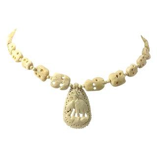 Carved Bone Elephant Pendant Necklace For Sale