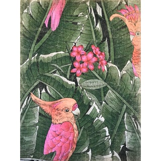 "French ""Pink Cacatoes Bird"" Hand Painted Panel For Sale"