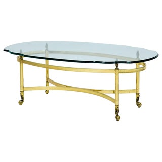 Oval Brass and Glass Cocktail Table