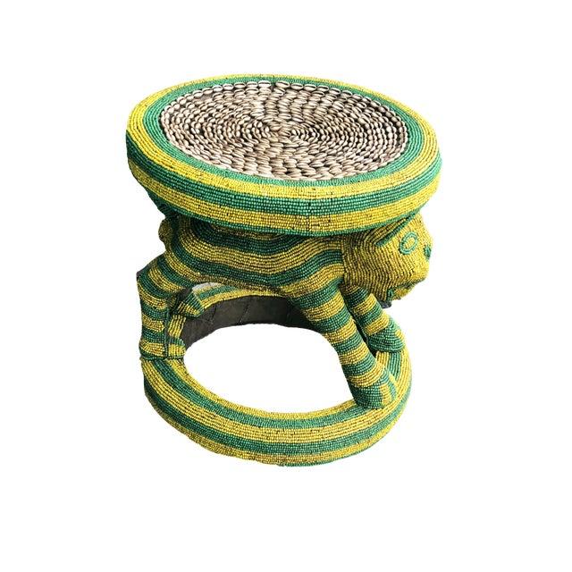 "Lg African Beaded Wood Bamileke Stool /Table Cameroon 18.5'""h For Sale"