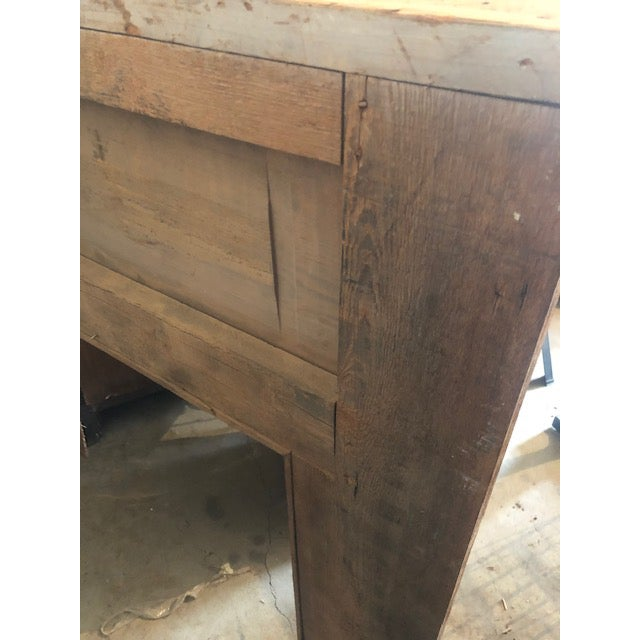 Antique Oak Mantle With White Distressed Stain For Sale In Denver - Image 6 of 6