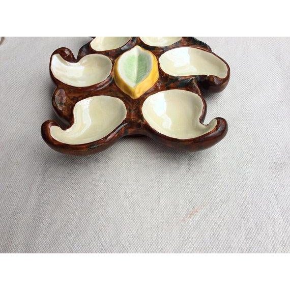 For your consideration.... A Truly Special french MidCentury Organic Form Oyster Plate Hand Made Hand Painted Made in...