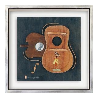 """Noelani"" Contemporary Mixed-Media Still Life Ukulele Assemblage by Poul Lange, Framed For Sale"