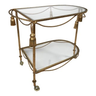 Italian Gilt Tassel Bar Cart For Sale