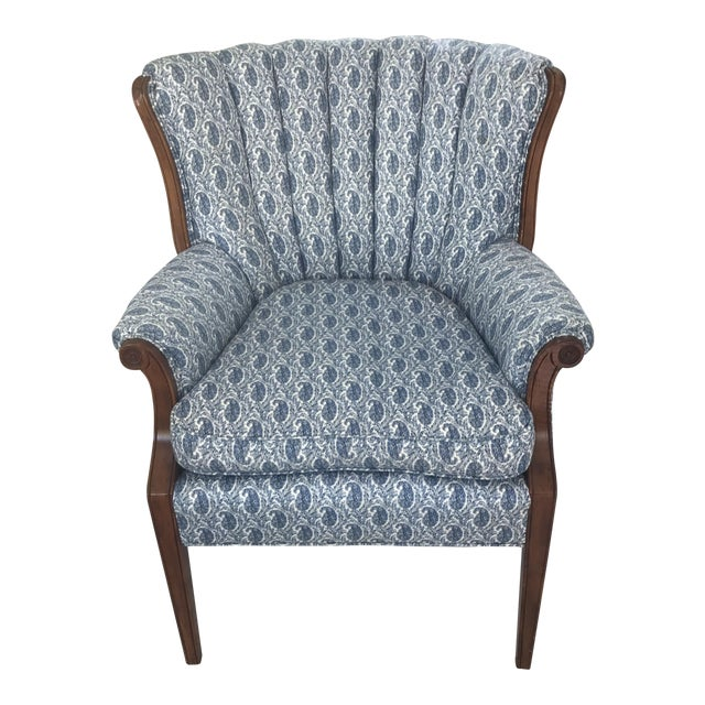 Blue Paisley Upholstered Arm Chair - Image 1 of 7