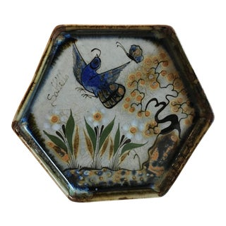 Vintage Mexican Hand Painted Signed Pottery Plate For Sale