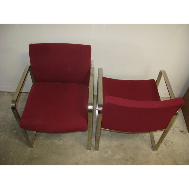 Metal Mid Century Modern Chrome Flat Bar Side Chairs- A Pair For Sale - Image 7 of 8
