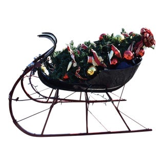 Vintage Albany Santa Sleigh Horse Drawn Equestrian Sled With Bells