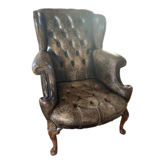 19th Century English Victorian Leather Armchair For Sale