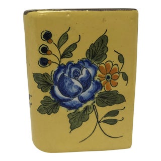 Vintage Mid Century French Hand Painted Pencil Holder For Sale