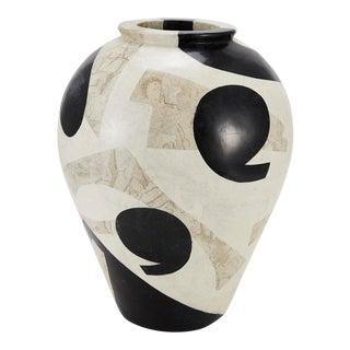 "1990s Postmodern Tessellated Stone ""Et Cetera"" Mango Vase For Sale"