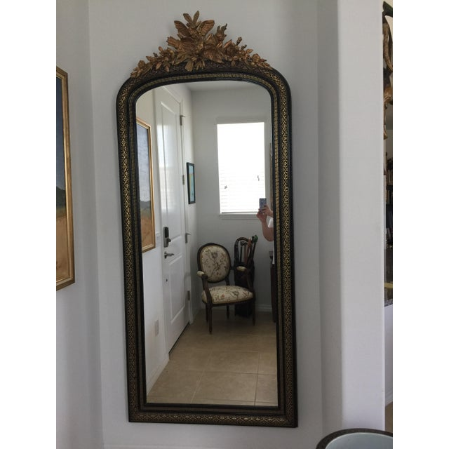 1800s Traditional Black and Gold Full/Floor Length Wall Mirror ...