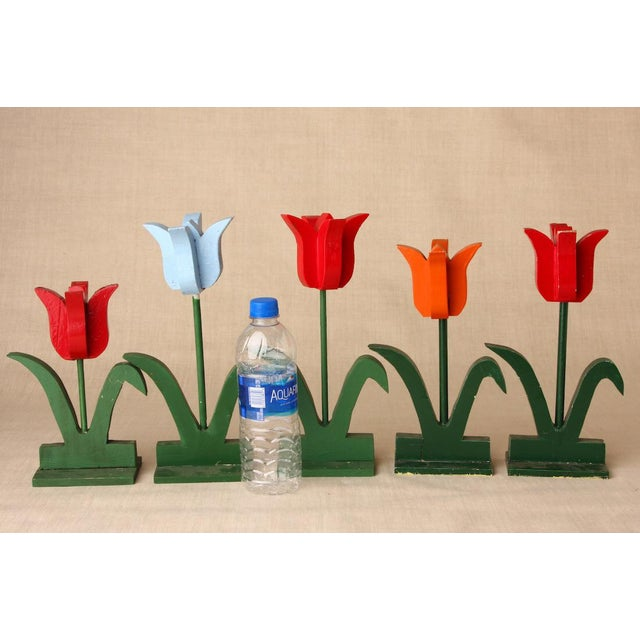 Wonderful whimsical wood tulips. 5 pieces. Done in the style of folk art. 5 handmade wooden tulips that will go most...