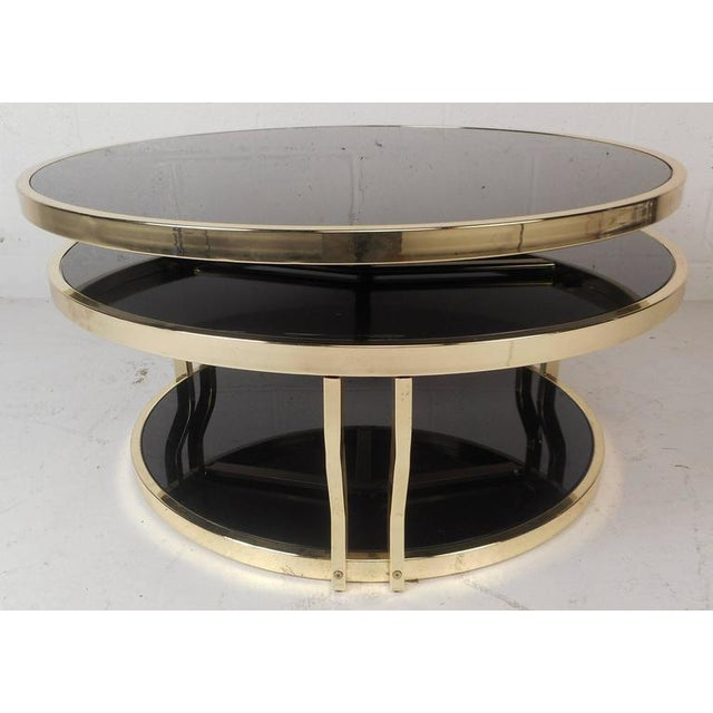 Modern Swivel Coffee Table.Mid Century Modern Italian Brass And Smoked Glass Swivel Coffee Table