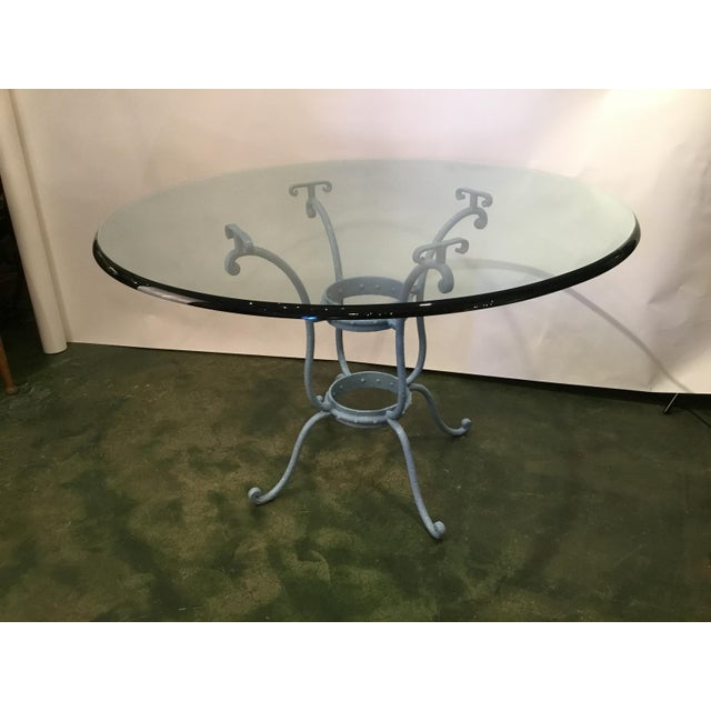 French Blue Iron Base Table With Rounded Beveled Edge Glass Top For Sale - Image 4 of 11