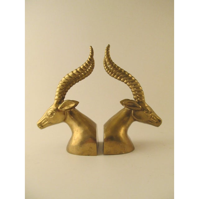 Brass Gazelle Head Bookends For Sale - Image 5 of 6