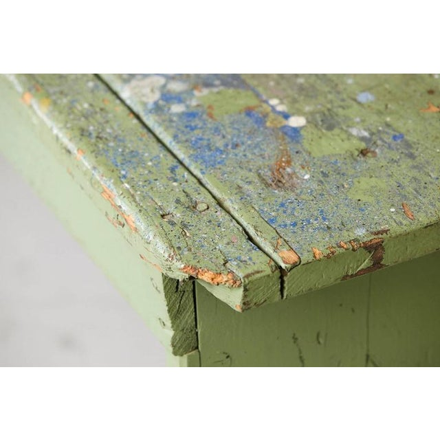 Primitive Green Pine Bench with Lots of Color Splashes from an Artist's Atelier For Sale - Image 10 of 10