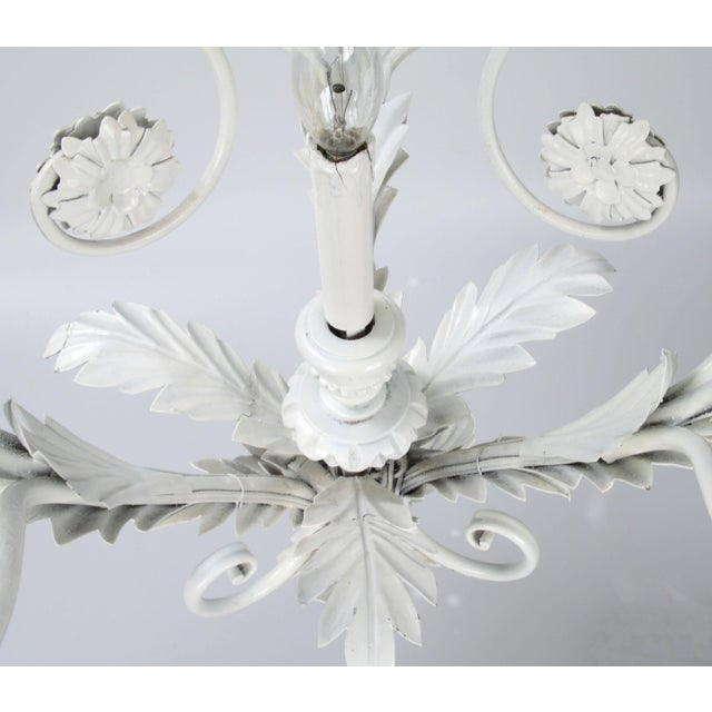 Metal Italian Metal Flower Leaf Chandelier For Sale - Image 7 of 10
