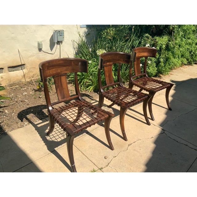 Mid-Century Modern Klismos Walnut Chairs - Set of 3 For Sale - Image 3 of 9