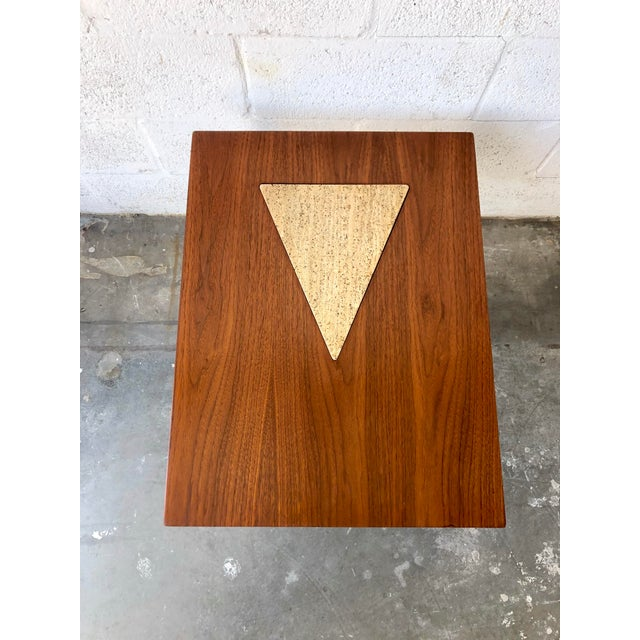 Stone Vintage Mid Century Modern End Table With Travertine Inlay. For Sale - Image 7 of 10