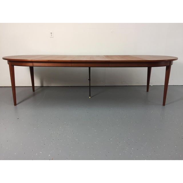 Danish Modern Solid Teak Expandable Dining Table - Image 6 of 11
