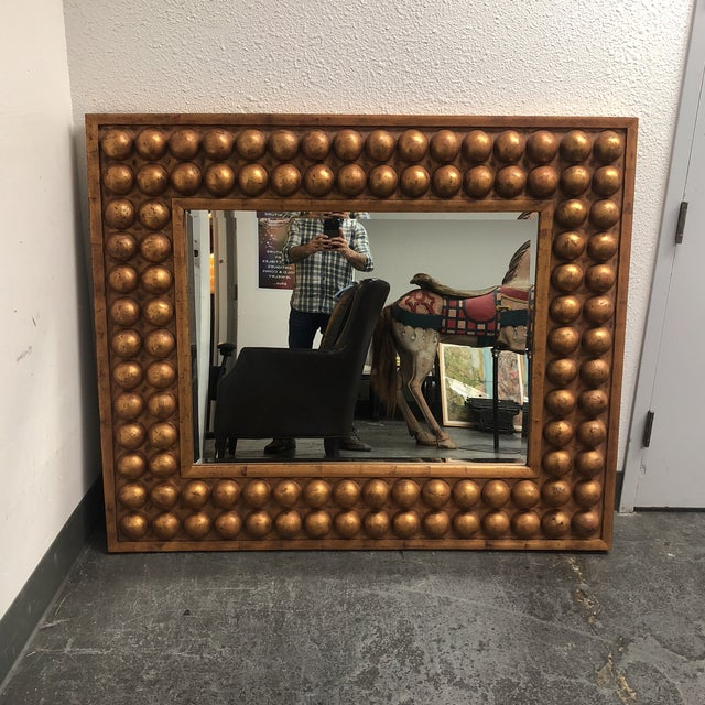 Vintage Bubble Framed Gold Finish Mirror - Image 2 of 7