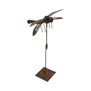Hand Forged Dragonfly Garden Statue For Sale