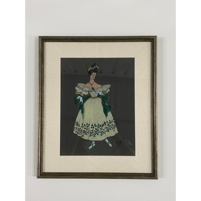 Late 20th Century Original Framed Theater Costume Sketches by Autry - Set of 16 For Sale - Image 5 of 13